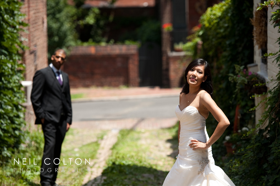 portrait of a bride and groom in Alexandria Virginia after their DC area wedding