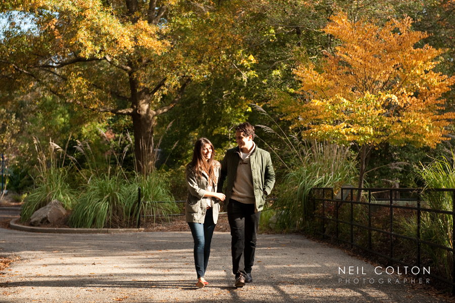 candid portrait of an engaged couple walking in a park in Washington DC