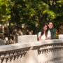 informal portrait of an engaged couple in Washington DC