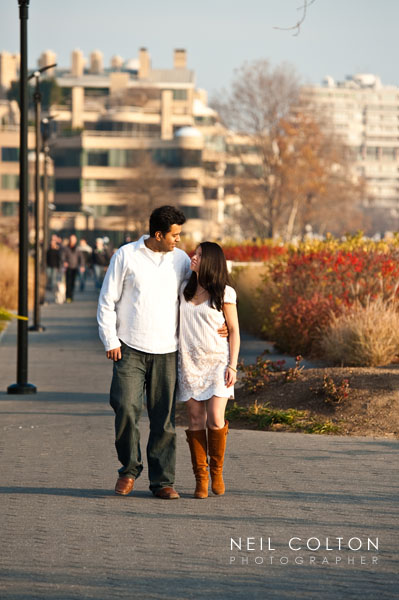 Candid portrait of a couple strolling along the Potomac River in Washington DC.